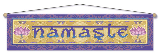 Namaste Lotus Entry Blessing Banner by Bryon Allen of Mandala Arts