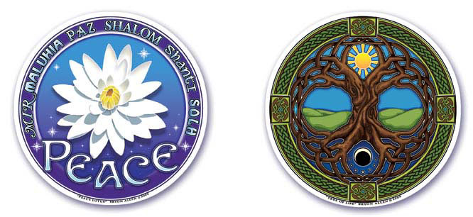 Peace Lotus and Tree of Life Window Stickers by Bryon Allen of Mandala Arts