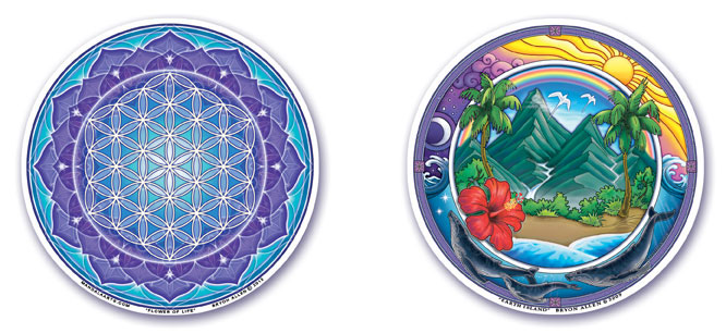 Flower of Life and Earth Island Window Stickers by Bryon Allen of Mandala Arts
