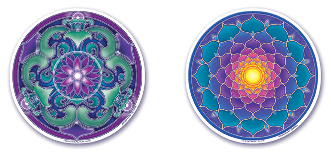 Nouveau Lotus and Central Sun Window Stickers