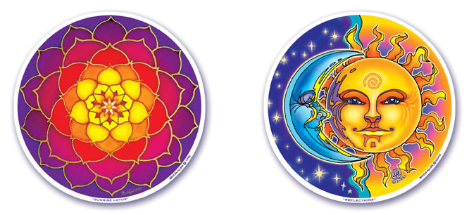 Sunrise Lotus and Reflections Window Stickers