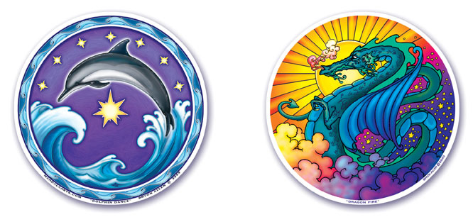 Dolphin Dance and Dragon Fire Window Stickers