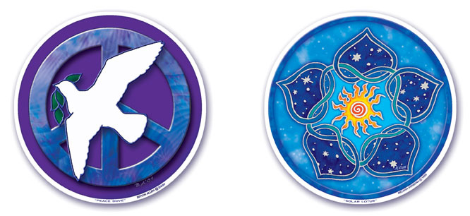 Peace Dove and Solar Lotus Window Stickers