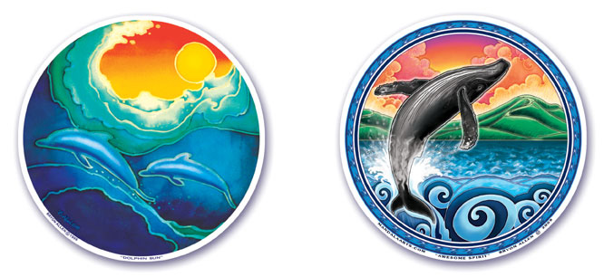 Dolphin Sun and Awesome Spirit Window Stickers