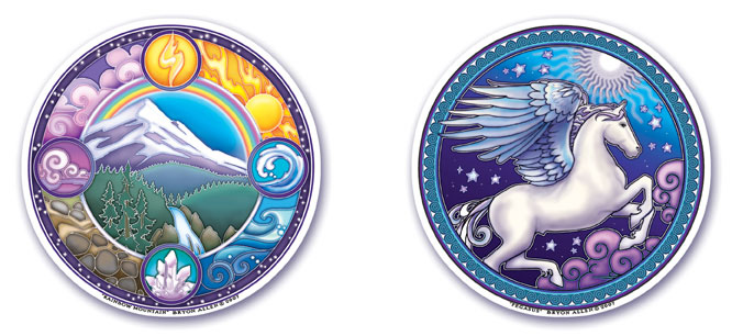 Rainbow Mountain and Pegasus Window Stickers