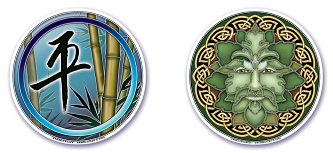 Bamboo Peace and Emerald Magic Window Stickers